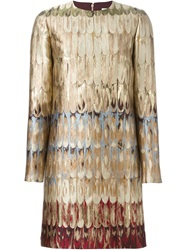 Valentino Embroidered Shift Dress Brown