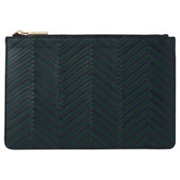 Whistles Woven Leather Small Clutch Green Multi