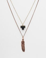 Asos Necklace Pack With Feather Pendant In Copper Gold