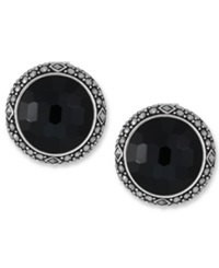 Genevieve And Grace Sterling Silver Earrings Onyx 14 Ct. T.W. And Marcasite Round Clip On Earrings