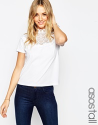 Asos Tall T Shirt With Crochet And High Neck White
