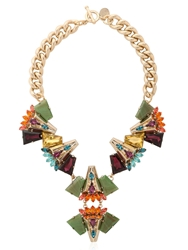 Anton Heunis Crystal Cluster Necklace Gold Multicolor