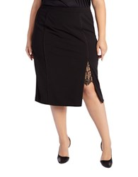 Addition Elle Michel Studio Plus Scalloped Lace Inset Skirt Black