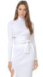 Cushnie Et Ochs Tie Back Knit Crop Top White