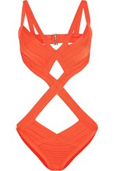 Herve Leger Cutout Bandage Swimsuit