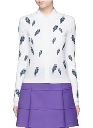 Alice Olivia 'Serena' Owl Patch Wool Cardigan White Multi Colour