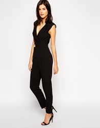 Lipsy Tuxedo Jumpsuit With Gold Belt Detail Black