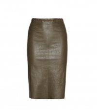 Stouls Gilda Leather Skirt Green