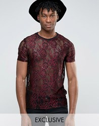 Reclaimed Vintage Lace T Shirt Wine Red