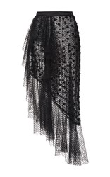 Rodarte Black Side Ruffle Polka Dot Tulle Skirt
