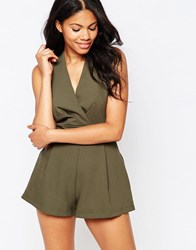 Love Playsuit With Pleated Bust Khaki Green