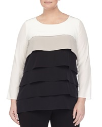 Marina Rinaldi Long Sleeve Colorblock Layered Blouse Women's