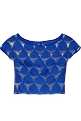 Milly Prism Cropped Fil Coupe Top Blue