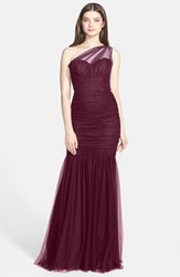 Women's Amsale One Shoulder Tulle Mermaid Gown Ruby