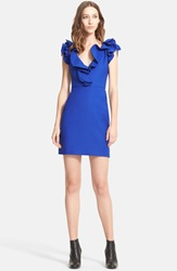 Lanvin Ruffle V Neck Sleeveless Sheath Minidress Royal Blue