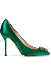 Gucci Dionysus Embellished Satin Pumps Emerald