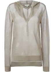 Michael Michael Kors Lurex V Neck Hoodie Nude And Neutrals