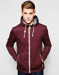 Brave Soul Hooded Jacket With Toggles Red