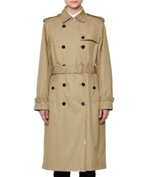 Valentino Woven Double Breasted Rockstud Trenchcoat Beige