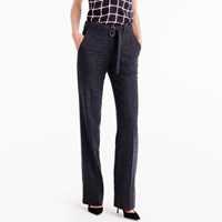 J.Crew Collection Belted Pant In Checkered Italian Wool