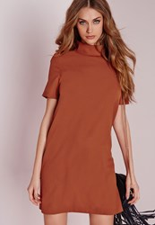 Missguided High Neck Short Sleeve Shift Dress Clay Clay