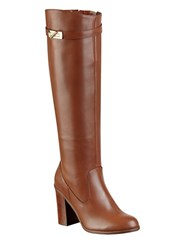 Tommy Hilfiger Mackenzie Knee High Leather Boots Tan