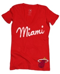 Sportiqe Women's Short Sleeve Miami Heat Slim Fit T Shirt Red