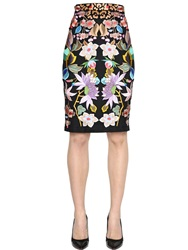Temperley London Floral Embroidered Crepe Pencil Skirt Black Multi