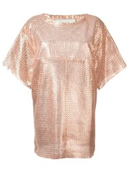 Drome Perforated Shift Dress Pink And Purple