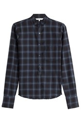 Helmut Lang Wool Cashmere Shrunken Plaid Shirt Blue