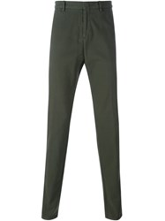 Z Zegna Concealed Button Chino Trousers Green