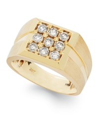 Macy's Men's Diamond Square Ring In 10K Gold 1 Ct. T.W.