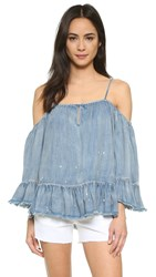 Blank Off Shoulder Ruffle Top Next In Line