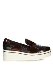 Stella Mccartney Binx Metallic Flatform Loafers Bronze