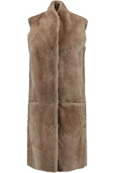 Iris And Ink Longline Shearling Gilet Nude