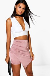 Boohoo Wrap Front Soft Touch Mini Skirt Mauve