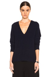 Helmut Lang Cashwool V Neck Sweater In Blue