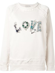 Lanvin Embellished Love Sweatshirt Nude And Neutrals