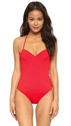 Shoshanna Red Solid Lattice Back One Piece