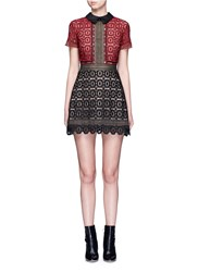 Self Portrait 'Militaire' Floral Crochet Lace Mini Dress Multi Colour