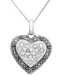 Genevieve And Grace Sterling Silver Necklace Marcasite And Crystal Heart Pendant