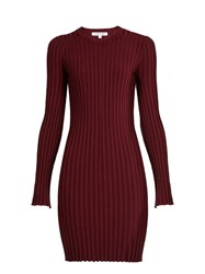Elizabeth And James Penny Long Sleeved Ribbed Knit Dress Burgundy