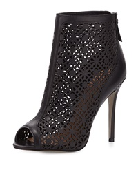 Badgley Mischka July Leather Peep Toe Bootie Black