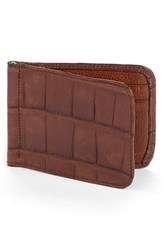 Martin Dingman 'Jameson' Matte Finish Genuine Alligator Leather Money Clip Wallet Brown Chestnut