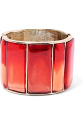 Oscar De La Renta Gold Plated Resin Cuff Red