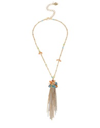 Betsey Johnson Weave And Sew Woven Mixed Bead And Flower Fringe Pendant Necklace Gold