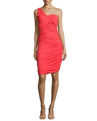 Halston One Shoulder Ruched Cocktail Dress Vermillion