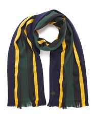 Mulberry Woven College Stripe Scarf Navy