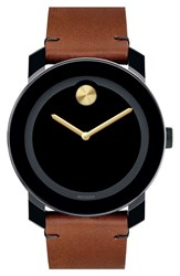 Men's Movado 'Bold' Leather Strap Watch 42Mm Brown Black Gold