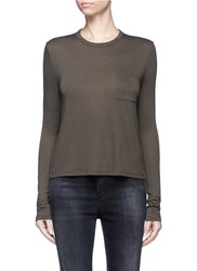 Alexander Wang Patch Pocket Long Sleeve Rayon T Shirt Green